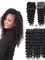 cheap -3 Bundles with Closure Brazilian Hair Deep Curly Remy Human Hair Human Hair Extensions Hair Weft with Closure 8-26 inch Natural Human Hair Weaves Soft Best Quality New Arrival Human Hair Extensions
