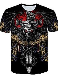 cheap -Men's T shirt Color Block 3D Skull Print Short Sleeve Daily Tops Basic Streetwear Black