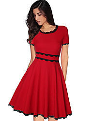 cheap -Women Elegant Sheath Dress Solid Colored Patchwork High Waist Red Navy Blue Lace Up Ball Gown Dresses