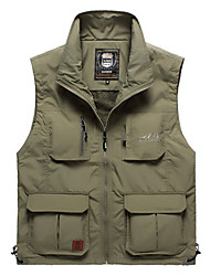 cheap -Men's Hiking Vest / Gilet Fishing Vest Outdoor UV Resistant Breathable Quick Dry Wear Resistance Top Single Slider Fishing Outdoor Exercise Camping / Hiking / Caving Army Green / Khaki / Multi Pocket