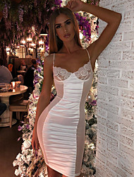 cheap -Women's Lace White Black Dress Elegant Daily Sheath Solid Colored Strap Lace Patchwork S M Slim / Sexy