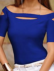 abordables -Tee-shirt Femme, Couleur Pleine Creux Epaules Dénudées Blanche / Printemps / Eté / Automne