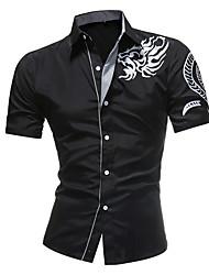 Недорогие -Муж. Этно Тонкие Рубашка Повседневные Белый / Черный / Темно синий / С короткими рукавами