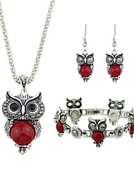 cheap -Women's Black Red Tourmaline Pendant Necklace Earrings / Bracelet Vintage Style Owl Vintage Fashion Earrings Jewelry Black / Red For Daily Date 1 set
