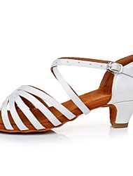 cheap -Women's Dance Shoes Satin Latin Shoes Buckle Sandal / Heel Cuban Heel Customizable White / Performance / Practice
