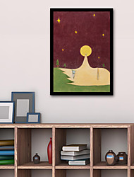 cheap -Framed Canvas Framed Set - People Cartoon Plastic Illustration Wall Art