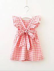 cheap -Kids Toddler Girls' Active Sweet Check Short Sleeve Dress Blue