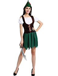 cheap -Robin Hood Cosplay Costume Adults' Women's Novelty Halloween Carnival St Patricks Day Festival / Holiday Polyster Green Women's Female Carnival Costumes Shamrock Novelty / Vest / Dress / Hat / Vest