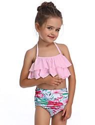 cheap -Kids Toddler Girls' Basic Cute Sports Beach Floral Ruffle Sleeveless Swimwear Blushing Pink