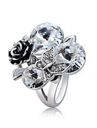 cheap -Women's Statement Ring Ring Belle Ring Crystal 1pc Silver Copper Silver Plated Imitation Diamond Artistic Trendy Hyperbole Party Evening Party Jewelry Vintage Style Butterfly Flower Shape Cool