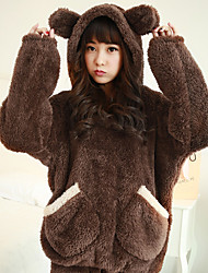 cheap -Adults' Pants Hoodie Kigurumi Pajamas Bear Onesie Pajamas Flannel Fabric Brown / Beige Cosplay For Men and Women Animal Sleepwear Cartoon Festival / Holiday Costumes