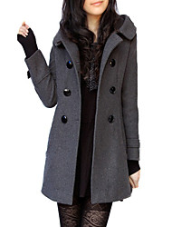 cheap -Women's V Neck Trench Coat Long Solid Colored Daily Fall Winter Batwing Sleeve Wool Black / Gray S / M / L