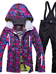 cheap -RIVIYELE Women's Ski Jacket with Pants Winter Sports Windproof Warm Breathability POLY Denim Clothing Suit Ski Wear