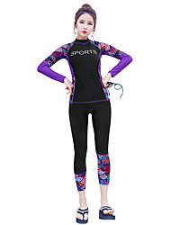 cheap -BANFEI Women's Rash Guard Dive Skin Suit Diving Suit UV Sun Protection Quick Dry Full Body 2-Piece - Swimming Surfing Water Sports Patchwork Floral Botanical Autumn / Fall Spring Summer