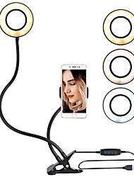 Недорогие -Гибкий кронштейн для крепления на монопод со светодиодным кольцевым фонариком. Настольные штативы с подставкой для мобильного телефона для видеоблогеров.