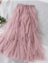 cheap -Women's Park Tutu Dress Sophisticated Swing Skirts Solid Colored Mesh Black Blushing Pink / Maxi