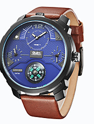 cheap -Oulm Men's Wrist Watch Quartz Genuine Leather Black / Brown 30 m Water Resistant / Waterproof Compass Three Time Zones Analog Fashion Elegant - Black Blue Rose Gold One Year Battery Life / Large Dial