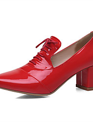 cheap -Women's Patent Leather Spring &  Fall British Oxfords Chunky Heel Pointed Toe Bowknot Black / Light Red / Pink