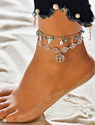 abordables -Femme Bracelet de cheville bijoux de pieds arbre de la vie Tropical Plaqué argent Bracelet de cheville Bijoux Argent Pour Mariage Carnaval Rendez-vous Plein Air Bikini