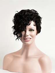 cheap -Synthetic Wig Curly Asymmetrical Wig Short Dark Brown Synthetic Hair 6 inch Women's Party Black