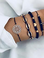 cheap -4pcs Women's Chain Bracelet Bead Bracelet Pendant Bracelet Retro Braided Moon Shell Puka Shell Tassel Vintage Boho Alloy Bracelet Jewelry Gold For Party Daily Festival