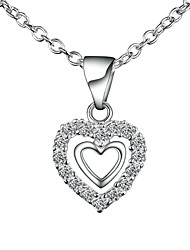 cheap -Women's Clear Cubic Zirconia tiny diamond Pendant Necklace Chain Necklace Necklace Heart Simple Basic Romantic Fashion Silver Plated Silver 46 cm Necklace Jewelry 1pc For Gift Daily Evening Party
