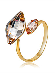 cheap -Women's Ring Open Ring Adjustable Ring Crystal 1pc Gold Copper Gold Plated Yellow Gold Four Prongs Stylish Sweet Elegant Daily Formal Jewelry Classic Lovely