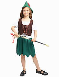 cheap -Robin Hood Masquerade Kid's Girls' Halloween Carnival St Patricks Day Festival / Holiday Polyster Green Female Carnival Costumes Shamrock Novelty