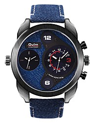 cheap -Oulm Men's Wrist Watch Quartz Oversized Fashion Water Resistant / Waterproof Analog Black Blue Gray / One Year / Japanese / Dual Time Zones / Large Dial / Japanese