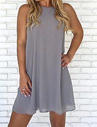 cheap -Women's Plus Size Shift Dress - Sleeveless Solid Colored Fall Spring & Summer Basic Daily Beach High Waist 2020 Wine White Black Blue Green Brown Gray S M L XL XXL XXXL XXXXL XXXXXL / Sexy