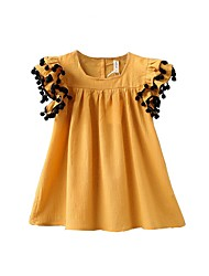 cheap -Baby Girls' Basic Daily Solid Colored Short Sleeve Regular Regular Above Knee Cotton Dress Yellow / Toddler