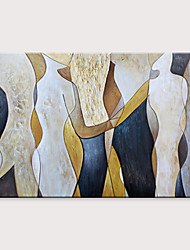 cheap -Oil Painting Hand Painted Horizontal Abstract People Modern Rolled Canvas (No Frame)
