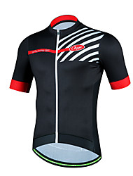 cheap -cheji® Men's Short Sleeve Cycling Jersey Black Orange Red Bike Jersey Top Mountain Bike MTB Road Bike Cycling Breathable Sports Polyester Clothing Apparel / High Elasticity