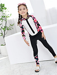 cheap -MEIYIER Girls' Rash Guard Dive Skin Suit Elastane Diving Suit Quick Dry Full Body 2-Piece Front Zip - Swimming Water Sports Patchwork Floral Botanical Summer / Kid's