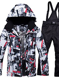cheap -RIVIYELE Men's Ski Jacket with Pants Winter Sports Windproof Warm Breathability POLY Denim Cotton Clothing Suit Ski Wear