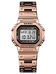 Недорогие -SKMEI Жен. Спортивные часы Наручные часы Квадратные часы Цифровой Нержавеющая сталь Черный / Серебристый металл / Золотистый 30 m Будильник Календарь Секундомер Цифровой На каждый день Мода -