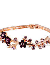 cheap -Women's Purple Crystal Classic Flower Romantic Fashion Elegant Yellow Gold Bracelet Jewelry Rose Gold For Daily Formal / Rose Gold Plated / Imitation Diamond / Rose Gold Plated
