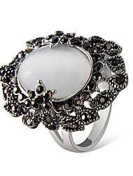 cheap -Women's Ring Amethyst Moonstone Luminous Stone 1pc Gray Silver Plated Chrome Imitation Diamond Artistic Unique Design Vintage Evening Party Carnival Jewelry Hollow Out Cool