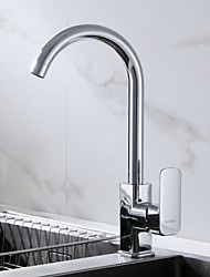 cheap -Kitchen faucet - Single Handle One Hole Standard Spout / Tall / ­High Arc Contemporary Kitchen Taps / Brass