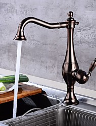 cheap -Kitchen faucet - Single Handle One Hole Standard Spout Contemporary Kitchen Taps / Brass