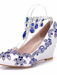 cheap -Women's PU(Polyurethane) Spring & Summer Sweet Wedding Shoes Wedge Heel Pointed Toe Rhinestone / Sparkling Glitter / Tassel Royal Blue