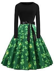 abordables -Déguisement Halloween Femme Carnaval Halloween Robe Bal Masqué Carnaval St Patricks Day Vert Costumes Carnaval / Shamrock Nouveauté / 3 feuilles
