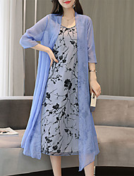 cheap -Women's Plus Size Blushing Pink Blue Dress Elegant Sophisticated Summer Daily Shift Geometric Petal Sleeves Dusty Rose Print M L / Cotton