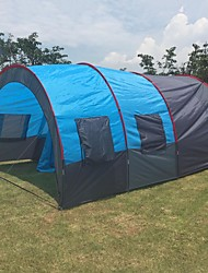 cheap -7 person Family Tent Outdoor Windproof, Warm, Ultra Light (UL) Single Layered Poled Tunnel Camping Tent Two Rooms 1000-1500 mm for Fishing Beach Camping PU Leather, Fiberglass, Polyester 480*310*210