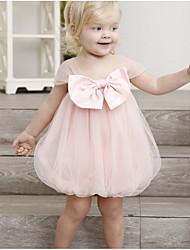 cheap -Kids Girls' Basic Solid Colored Short Sleeve Dress Blushing Pink