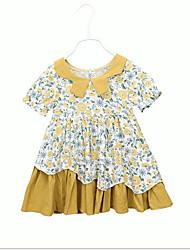 cheap -Kids Girls' Sweet Cute Geometric Short Sleeve Dress Yellow