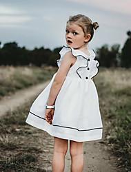 abordables -Enfants Bébé Fille Doux Le style mignon Quotidien Couleur Pleine A Volants Manches Courtes Robe Blanche