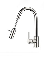 cheap -Kitchen faucet - Single Handle One Hole Stainless Steel Pull-out / Pull-down / Tall / High Arc Ordinary Kitchen Taps