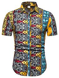 cheap -Men's Club Weekend Business / Street chic EU / US Size Linen Shirt - Color Block Print Classic Collar Blue / Short Sleeve