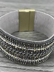 cheap -Women's Leather Bracelet Layered Basic Leather Bracelet Jewelry Silver / Orange / Beige For Wedding Birthday Gift Daily Valentine / Rhinestone